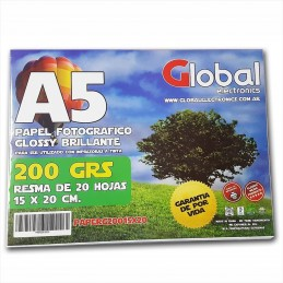 Papel Fotográfico 15x20cm 200 gr. Brillante x 20 hojas - Global