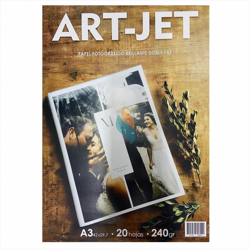 Papel Fotográfico A3 240 gr. Brillante, Doble Faz, x 20 hojas - Art Jet