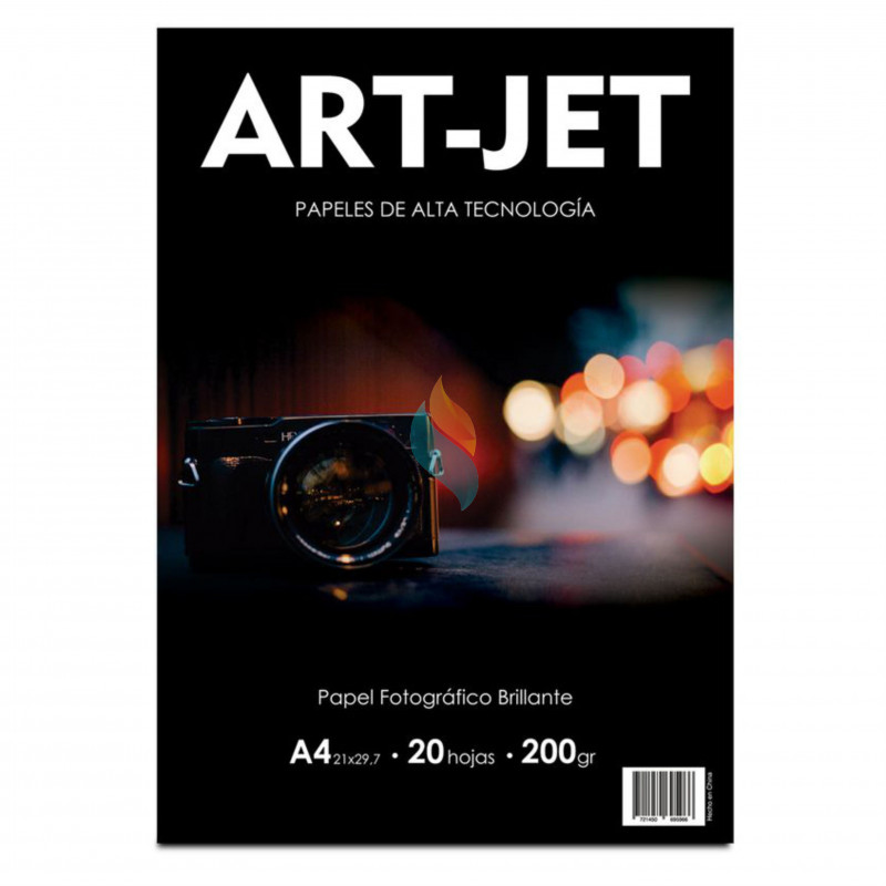 Papel Fotográfico A4 200 gr. Brillante x 20 hojas - Art Jet