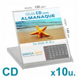 Caja CD Porta Calendario / Almanaque x 10 u. Acrílica Plástica Transparente