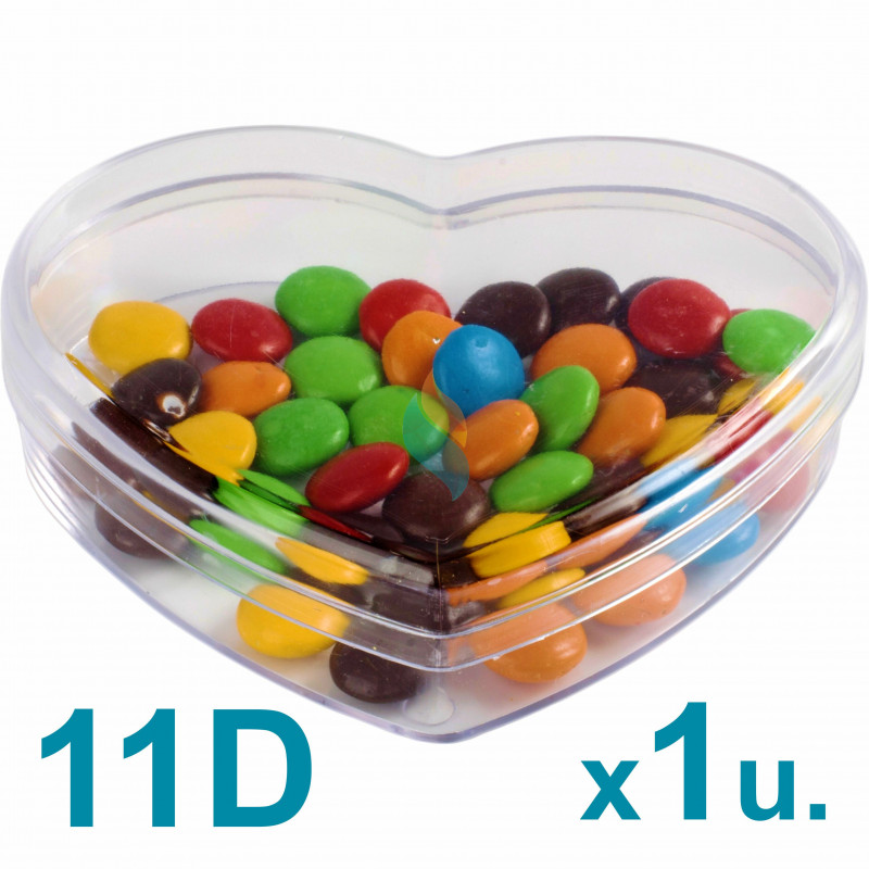 Caja Corazón Mediana 11d Pastillero / Bombones  x 1u. Acrílicas Plásticas