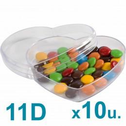 Cajas Corazón Medianas 11d Pastillero / Bombones  x 10u. Acrílicas Plásticas