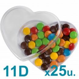 Cajas Corazón Medianas 11d Pastillero / Bombones  x 25u. Acrílicas Plásticas