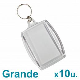 Llaveros Acrílicos 6x4cm. Grandes Transparentes x10 u. para foto / publicidad