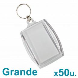 Llaveros Acrílicos 6x4cm. Grandes Transparentes x50 u. para foto / publicidad