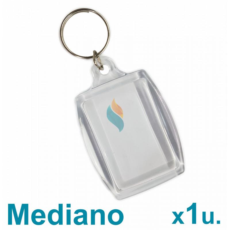 Llavero Acrílico 3x4.5cm. Mediano Transparente x1 u. Para Foto / Publicidad