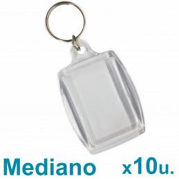 Llaveros Acrílicos 3x4.5cm. Medianos Transparente x10 u. Para Foto / Publicidad