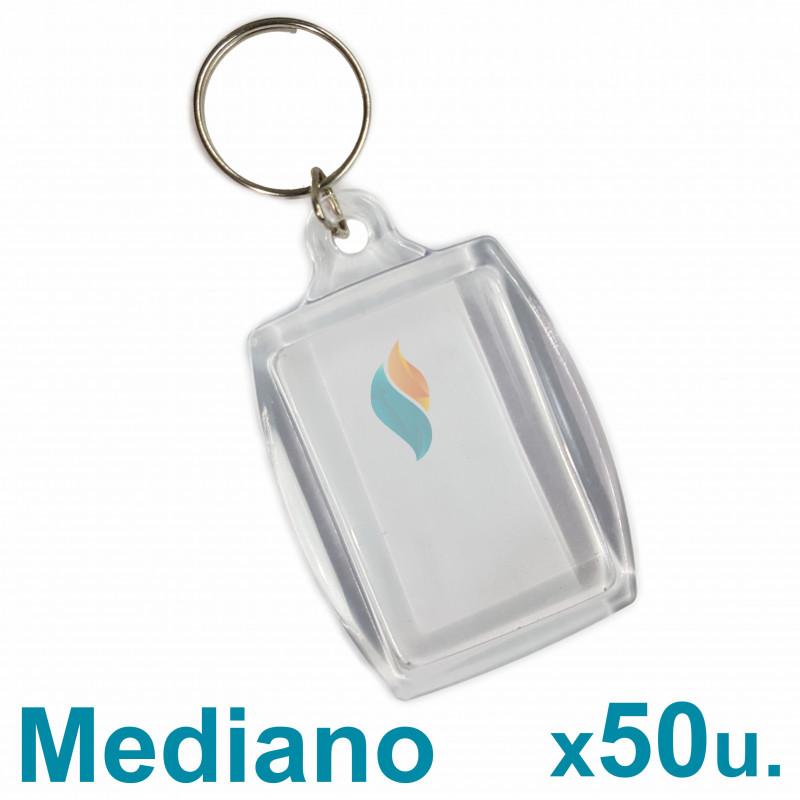 Llaveros Acrílicos 3x4.5cm. Medianos Transparente x50 u. Para Foto / Publicidad