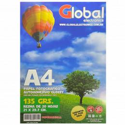 Papel Fotográfico Autoadhesivo A4 135 gr. Brillante x 20 hojas - Global