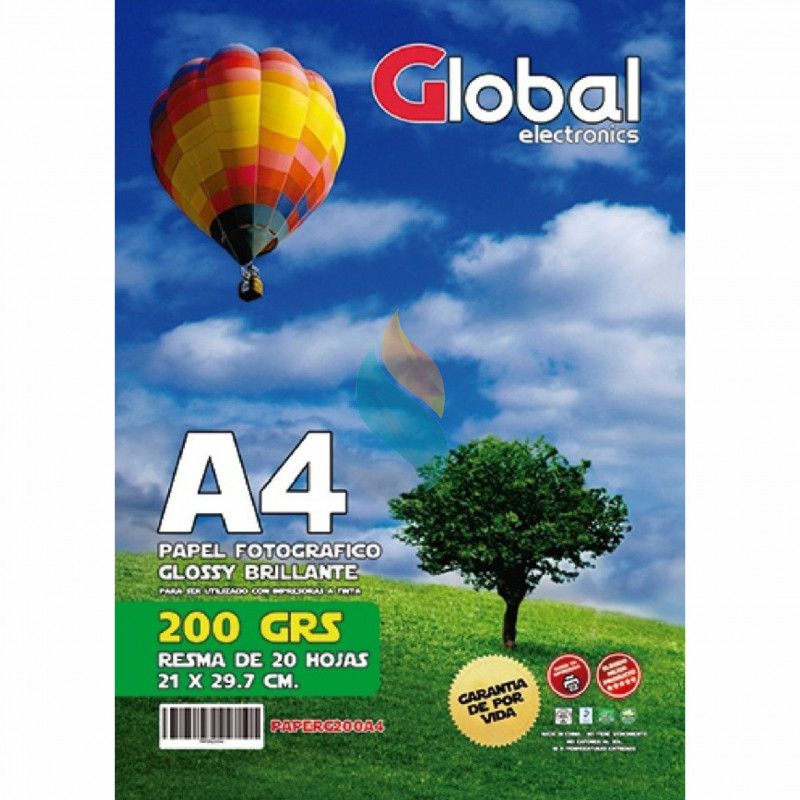 Papel Fotográfico A4 200 gr. Brillante x 20 hojas - Global