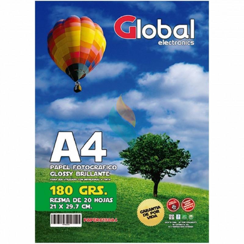 Papel Fotográfico A4 180 gr. Brillante x 20 hojas - Global