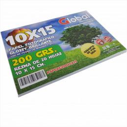 Papel Fotográfico 10x15cm 200 gr. Brillante x 20 hojas - Global
