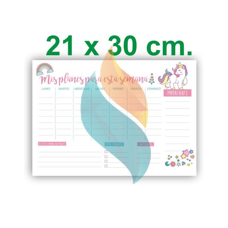 """Pizarra Planner Organizador Imantado Modelo """"Unicornio"""" Tamaño A4"""
