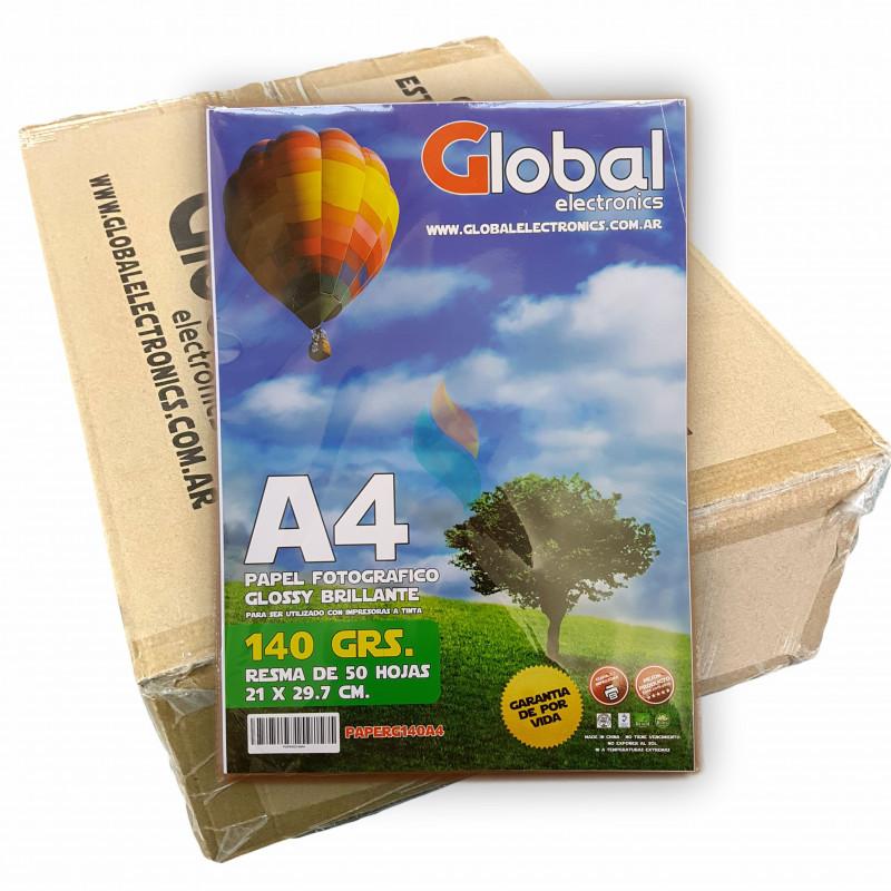 Papel Fotografico A4 140 gr. Brillante x 2000 hojas - Global PRECIO MAYORISTA