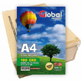 Papel Fotográfico A4 180 gr. Brillante x 1000 hojas - Global PRECIO MAYORISTA