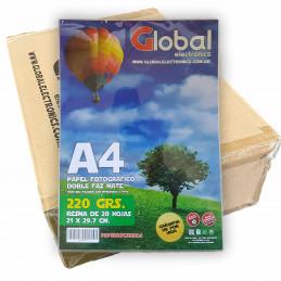 Papel Fotográfico A4 220 gr. Mate, Doble Faz, x 1000 hojas - Global PRECIO MAYORISTA