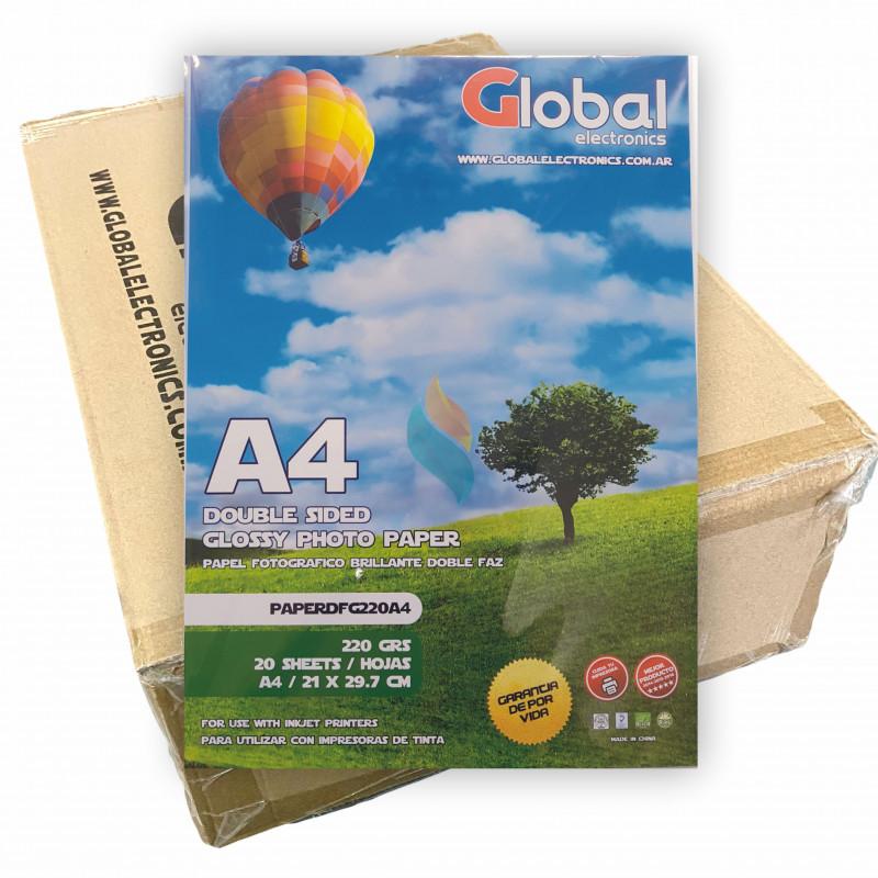 Papel Fotográfico A4 220 gr. Brillante, Doble Faz, x 1000 hojas - Global PRECIO MAYORISTA