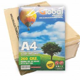 Papel Fotográfico A4 260 gr. Brillante x 1000 hojas - Global PRECIO MAYORISTA