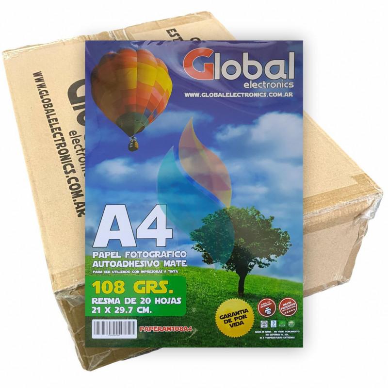 Papel Fotográfico Autoadhesivo A4 108 gr. Mate x 1000 hojas - Global PRECIO MAYORISTA
