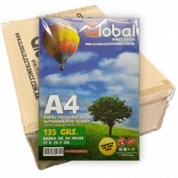 Papel Fotográfico Autoadhesivo A4 135 gr. Brillante x 1000 hojas - Global PRECIO MAYORISTA