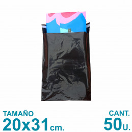 Bolsas Ecommerce 20x31 cm. Con Adhesivo Inviolable x50 u. Negras