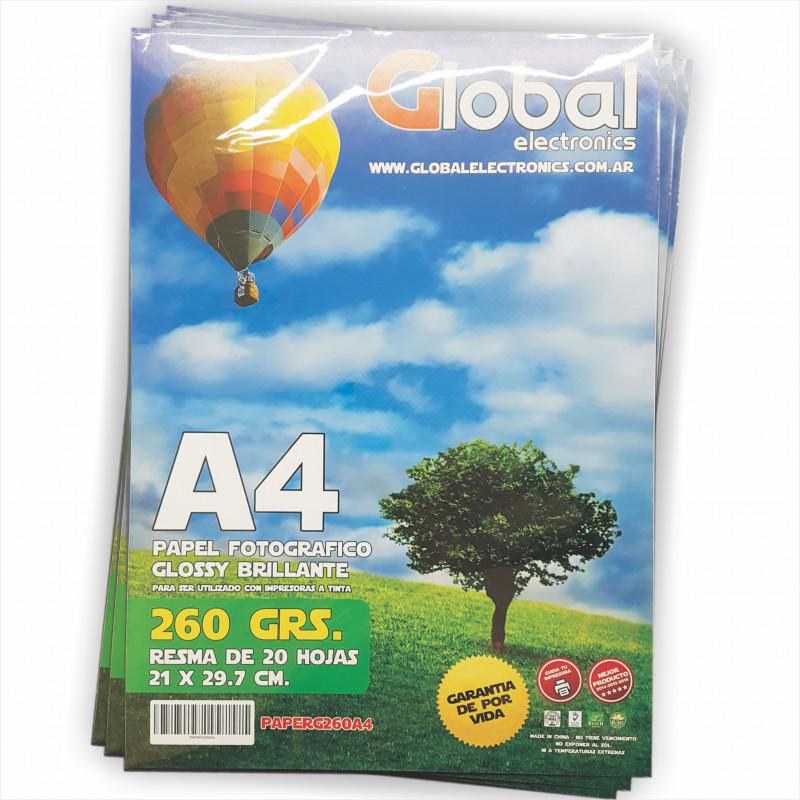 Papel Fotográfico A4 260 gr. Brillante x 20 hojas - Global