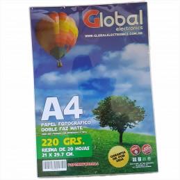 Papel Fotográfico A4 220 gr. Mate, Doble Faz, x 20 hojas - Global
