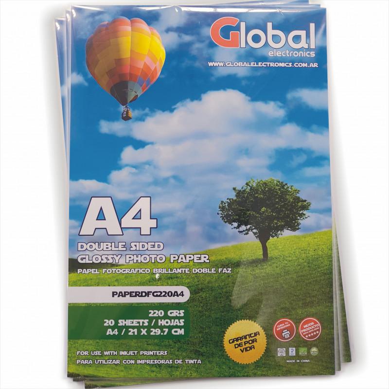 Papel Fotográfico A4 220 gr. Brillante, Doble Faz, x 20 hojas - Global