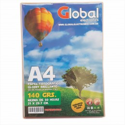 Papel Fotografico A4 140 gr. Brillante x 50 hojas - Global