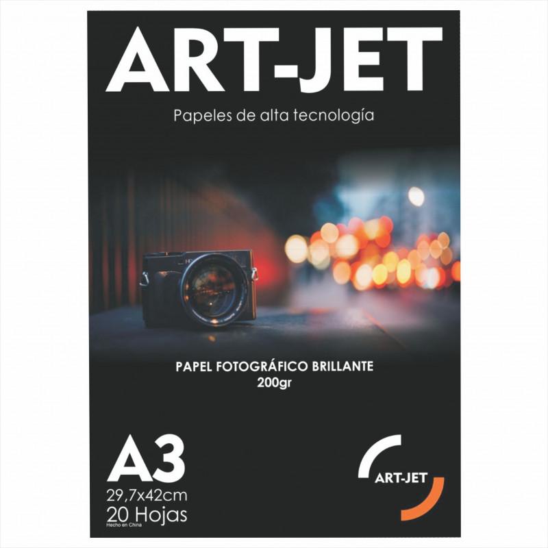 Papel Fotográfico A3 200 gr. Brillante x 20 hojas - Art Jet