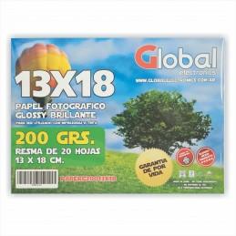 Papel Fotográfico 13x18cm 200 gr. Brillante x 20 hojas - Global