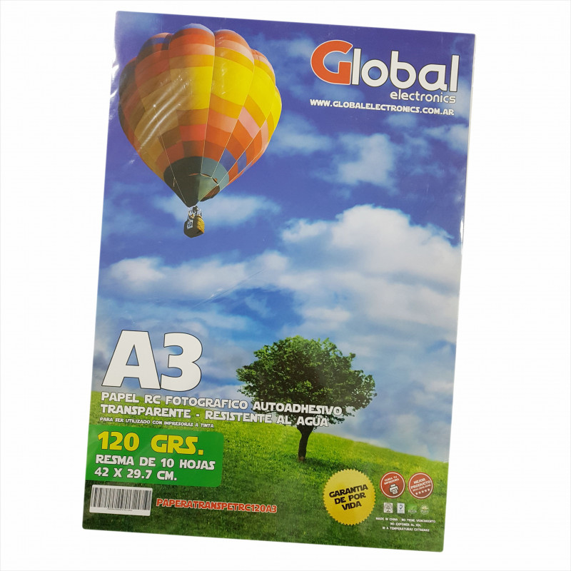 Vinilo Transparente Fotográfico Autoadhesivo A3 120 gr. x 10 hojas - Global