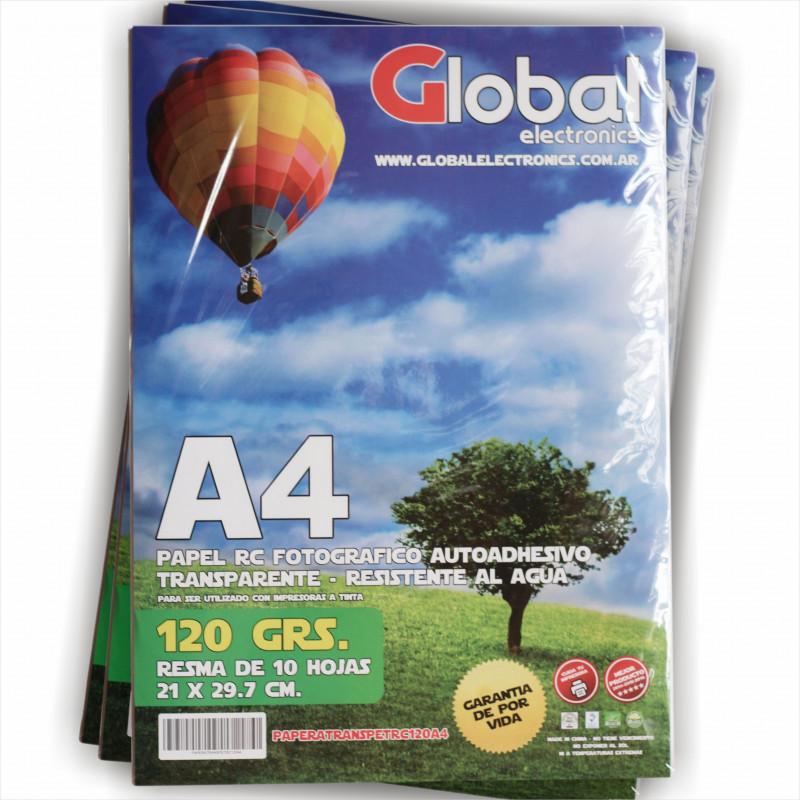 Vinilo Transparente Fotográfico Autoadhesivo A4 120 gr. x 10 hojas - Global